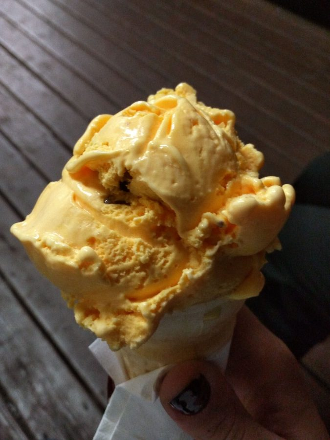 My cone of Pav's recent Pikachu flavor. It's cake batter ice cream with crushed Kit Kat bars.