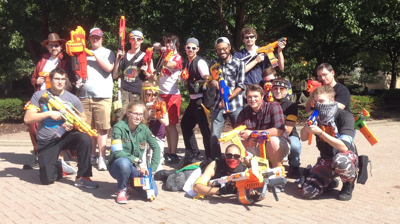 Players prep for the final battle with Nerf blasters at the ready.
