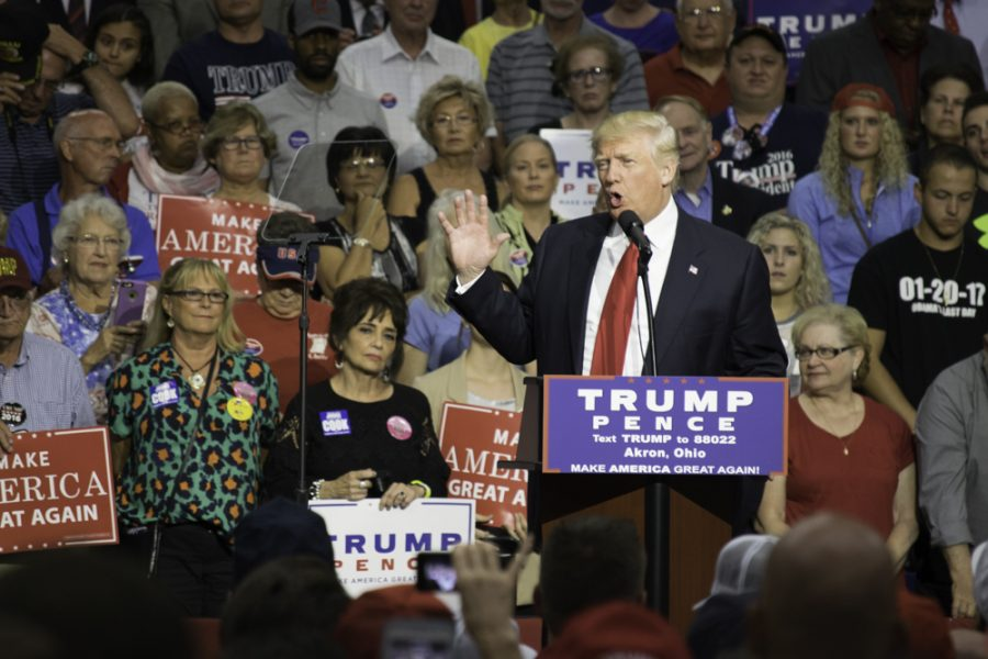 President-elect Donald Trump spoke during a rally on the campaign trail at the James A. Rhode Arena at UA this summer.