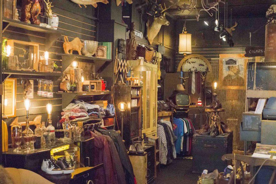The Steam Trunk, Highland Square's men's boutique, has antiques, clothing, cigars, and manly candles.