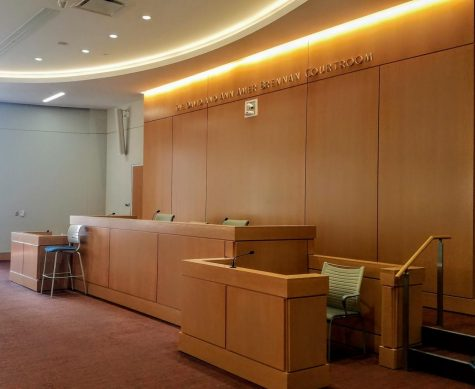 Courtroom bench.