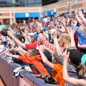Fans cheer on the RubberDucks.