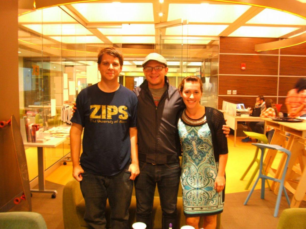 The creators of HungerPerks: (From left) Sam Borick, Kyle Flynn, and Julia Mallinak in the EXL Center.