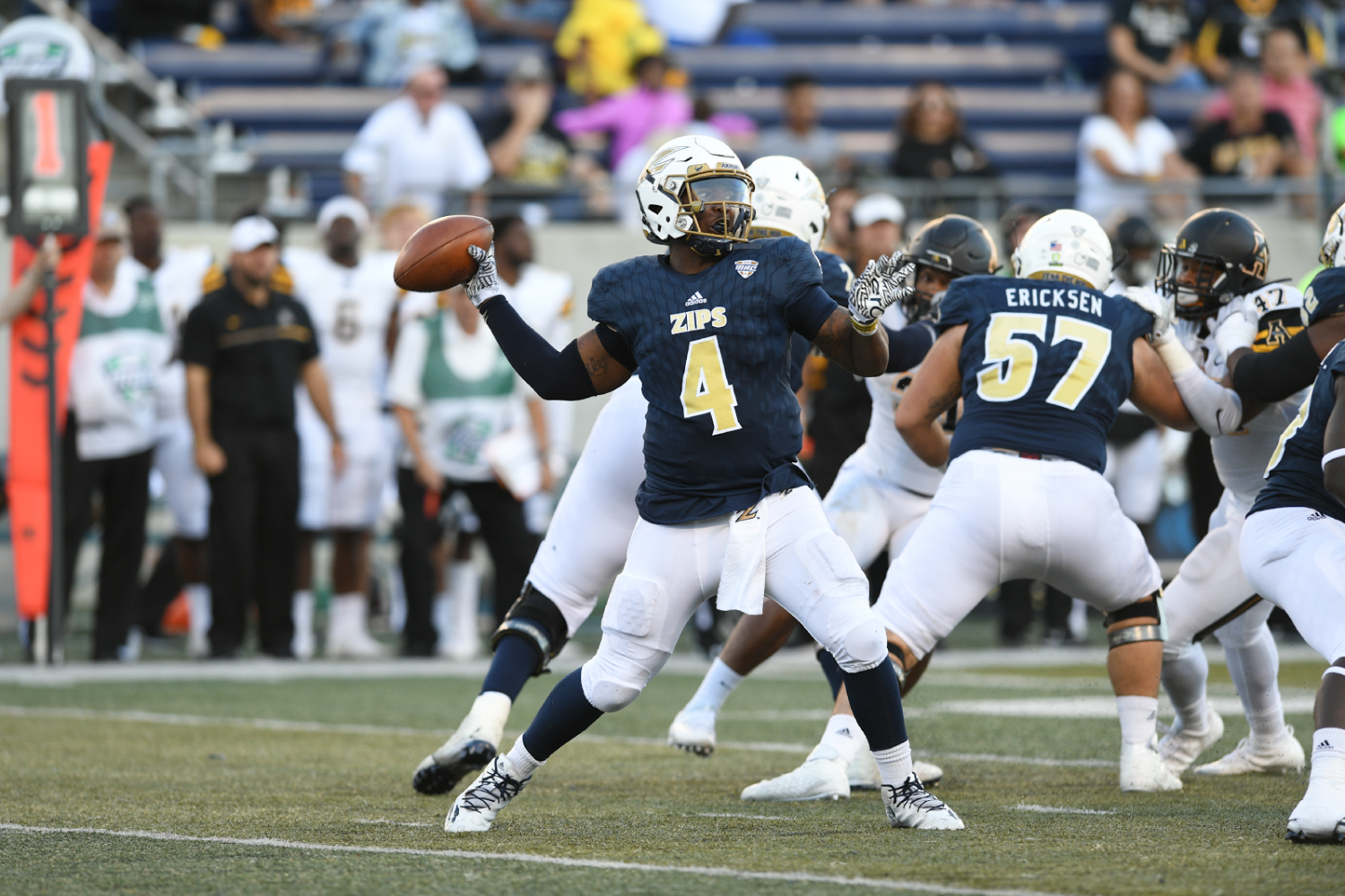 No. 4, Tommy Woodson in action for the Zips.