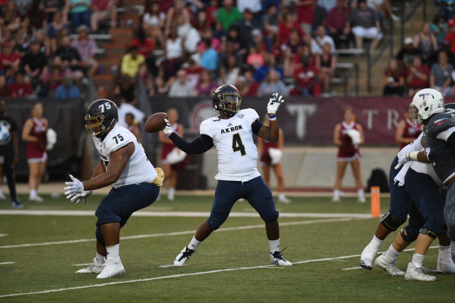 Thomas Woodson looks to find an open receiver during the Zips' game vs. Troy on Saturday. (Photo courtesy of Akron Zips Football)