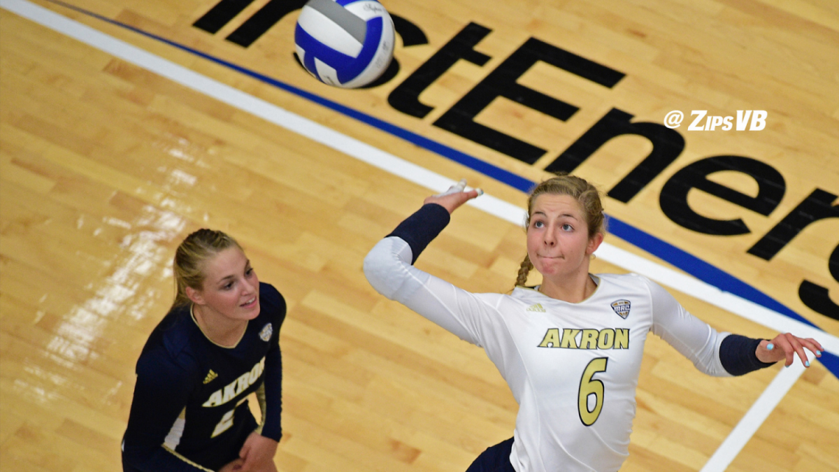 Two-time+All-Tournament+team+honorees+this+season%2C+Junior%2C+outside+hitter%2C+Kayla+Gwozdz%2C+and+freshman%2C+libero%2C+Taylor+Sharrits.+%28Photo+Courtesy+of+of+the+Akron+Zips%29