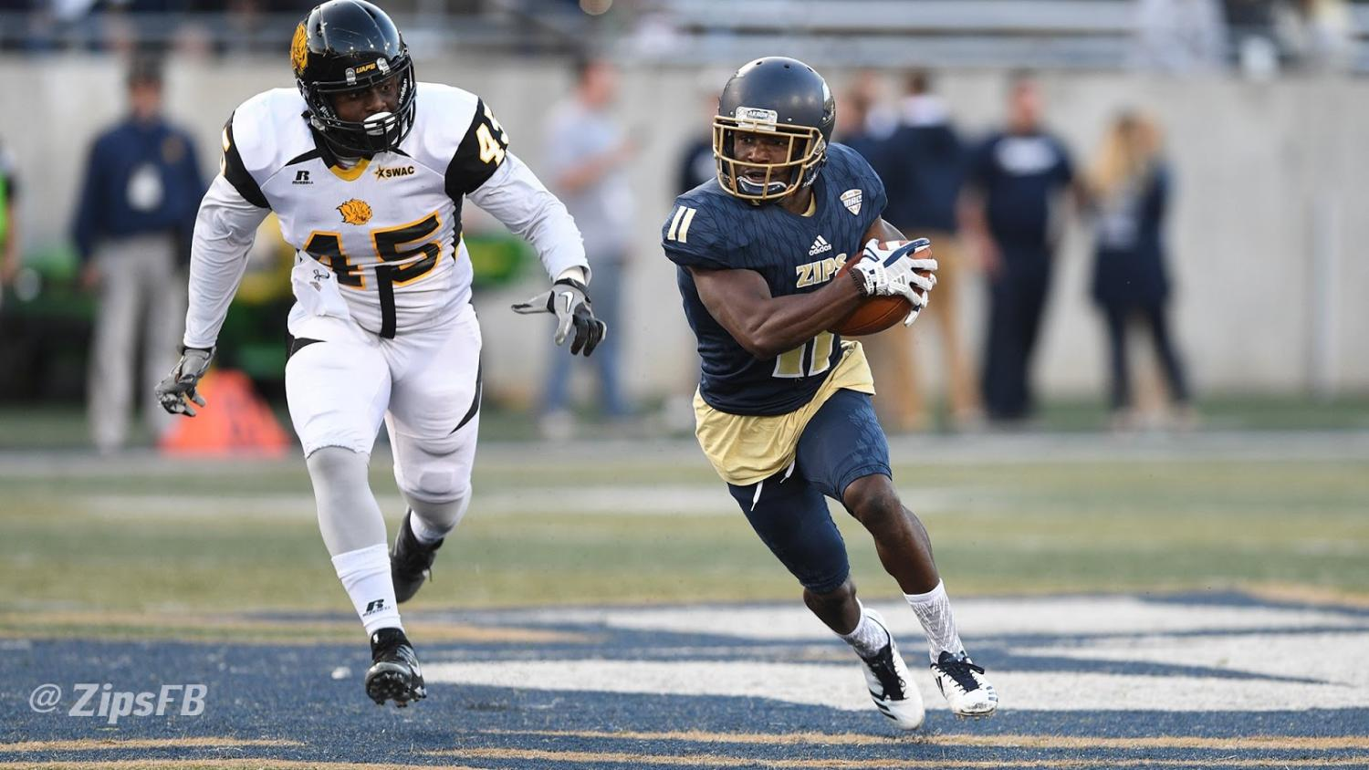 Zips wide receiver A.J. Coney looks for the  end zone. (Photo courtesy of Zips Football)