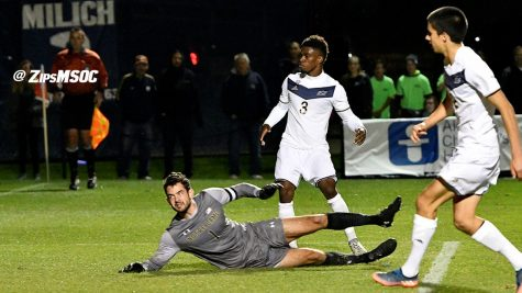 Akron's Nick Hinds helps the Zips by grabbing the second goal of the night. (Photo Courtesy of The University of Akron Athletics)