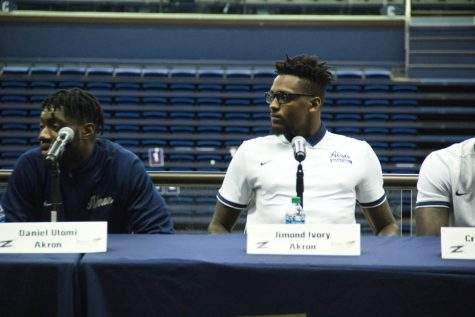 Jimond Ivey and Daniel Utomi answer questions during Media Day at James A. Rhodes Arena.