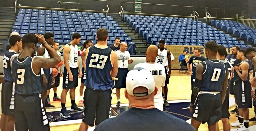 Coach Groce giving his team final words of motivation before concluding practice.