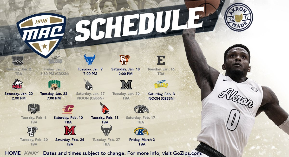 The 2017-18 Zips Mens Basketball season schedule.