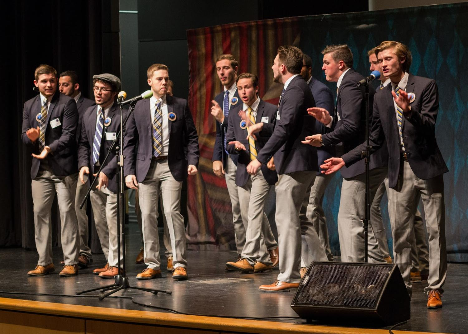 The University of Akron's male a capella group, Nuance sings at First Night Akron 2017.