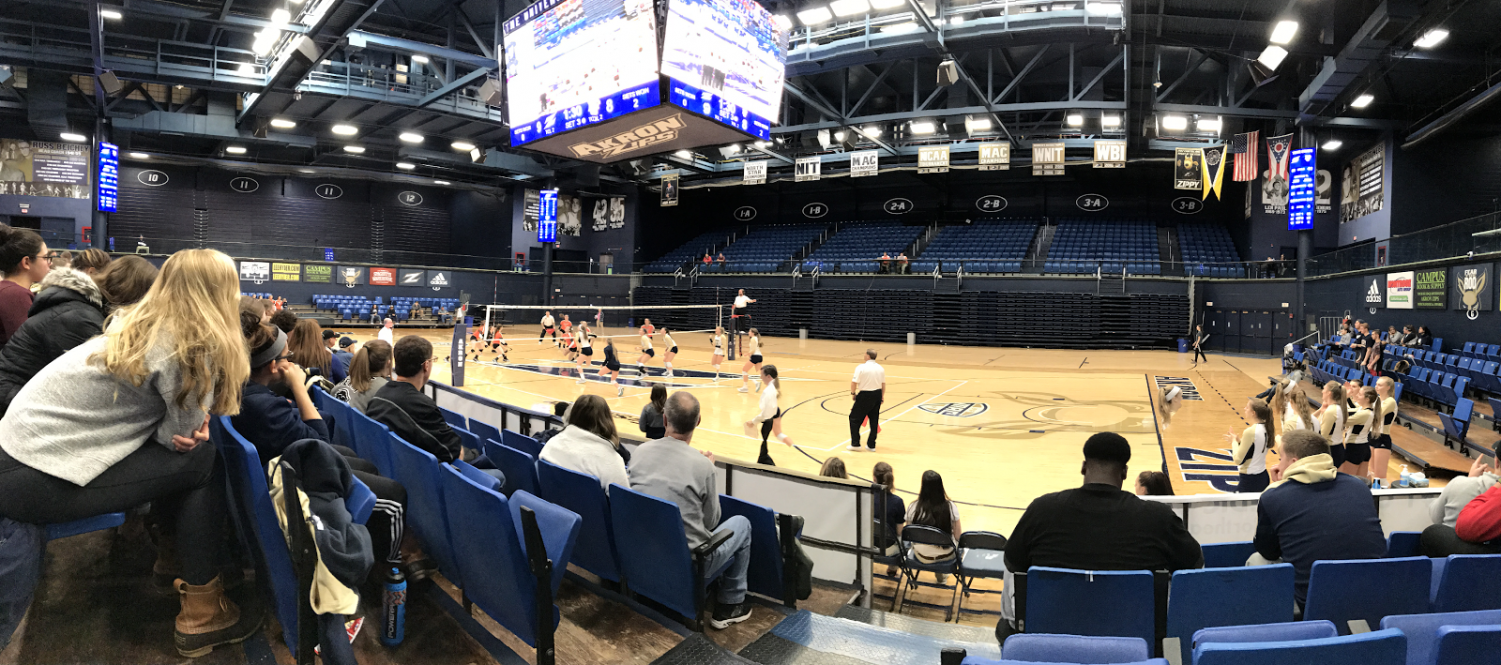 Akron Volleyball competes against Bowling Green at James A. Rhodes Arena in their penultimate match of the season on Friday, Nov. 10.