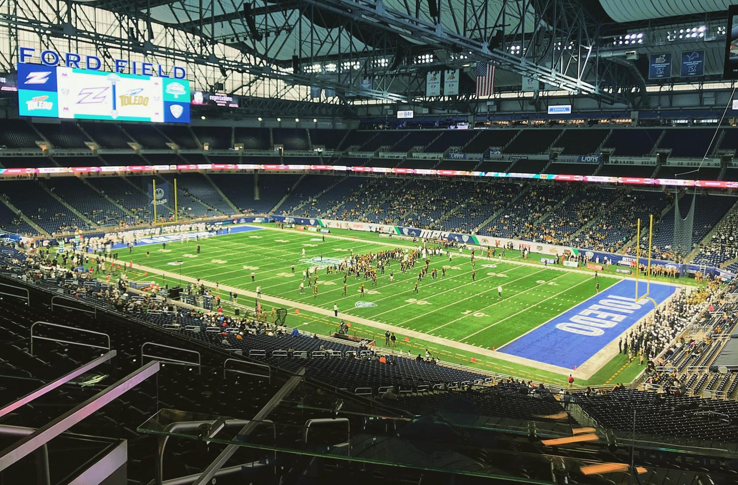 The scene at Ford Field prior to kickoff between the Akron Zips and Toledo Rockets on Saturday.