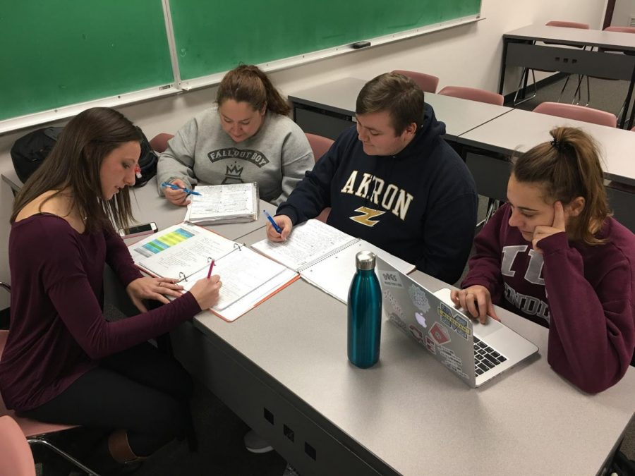 Students at The University of Akron work on their coursework.