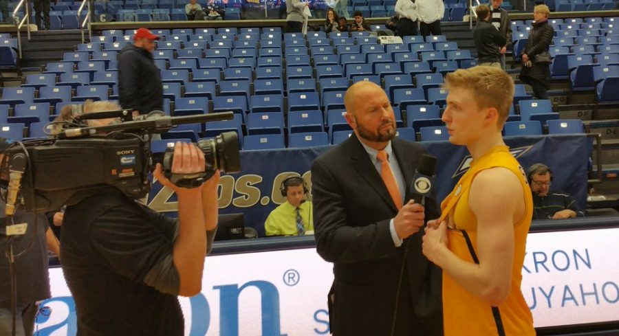 Postgame interview with the Rockets guard, Jaelan Sanford following their win over Akron. (Photo courtesy of Toledo Men's Basketball)