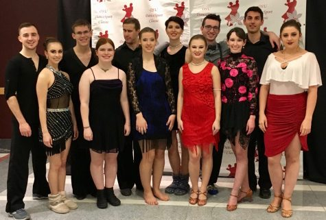 The University of Akron's Ballroom Dance Team gathers at their recent competition at The Ohio State University. (Photo courtesy of Christine Reese)