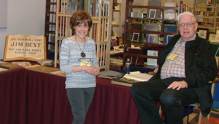 Committee members Tess Kindig and Jim Best. Best is one of the founding members of the paper show. (Photo courtesy of Patti Russell)