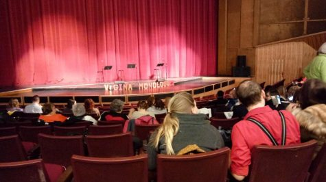 The audience waits in E.J. Thomas Hall for the start of The Vagina Monologues.