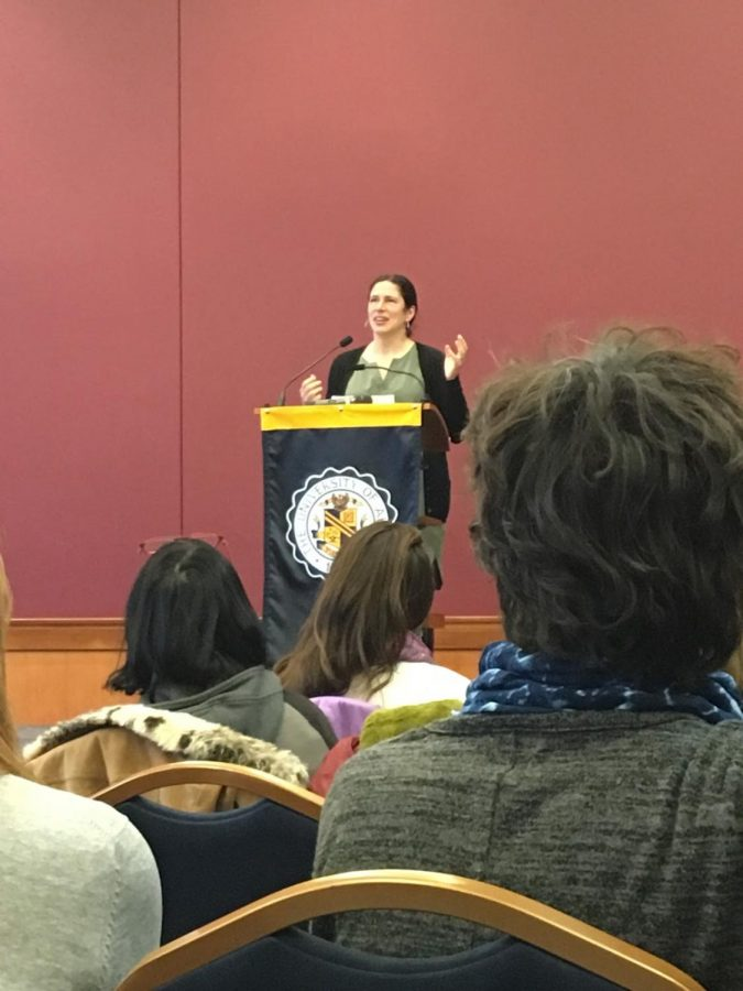 Author Rebecca Traister speaking about her book at The University of Akron.