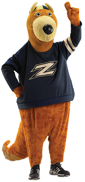 Zippy letting everyone know who is #1. (Photo courtesy of The University of Akron)