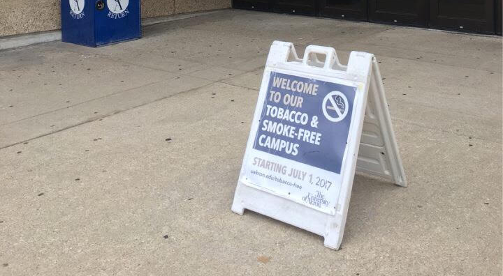 A sign outside of Bierce Library alerts students and visitors of The University of Akron's tobacco-free policy.
