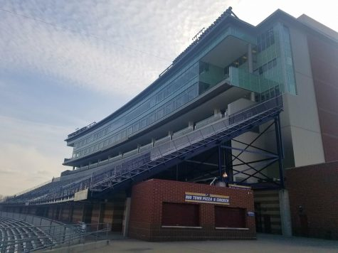 The seven-level press tower at InfoCision Stadium–Summa Field, The University of Akron's football stadium.