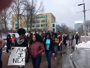 Students march at start of the UA walkout.