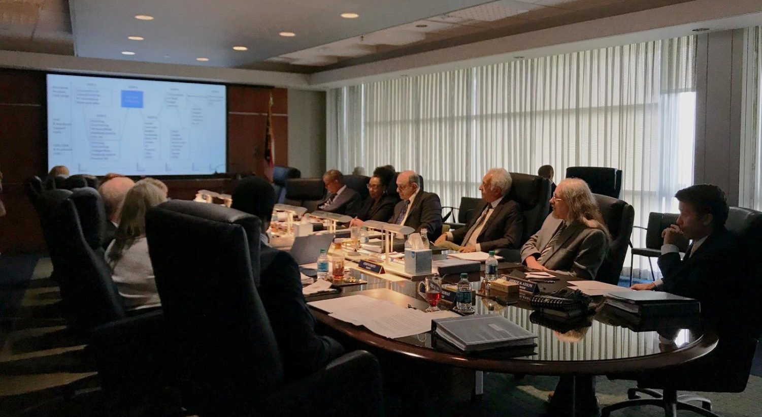 The University of Akron Board of Trustees reviews a chart presented by Interim President John Green during Wednesday's meeting at the Taber Student Union.