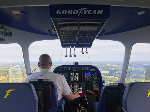 Goodyear pilot Jerry Hissem maintains a steady approach as Wingfoot Three prepares to land at the airship base.
