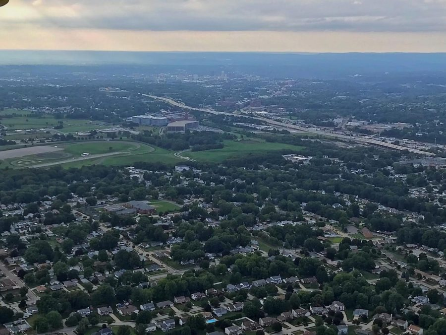 The city of Akron as viewed from Wingfoot Three. Goodyear's global headquarters can be seen near the center of the photo. Downtown Akron is visible further in the distance.