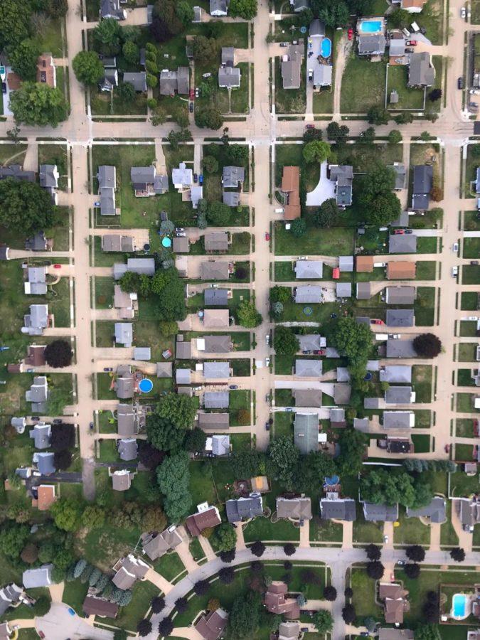 Wingfoot Three flies directly over Akron's Ellet neighborhood.
