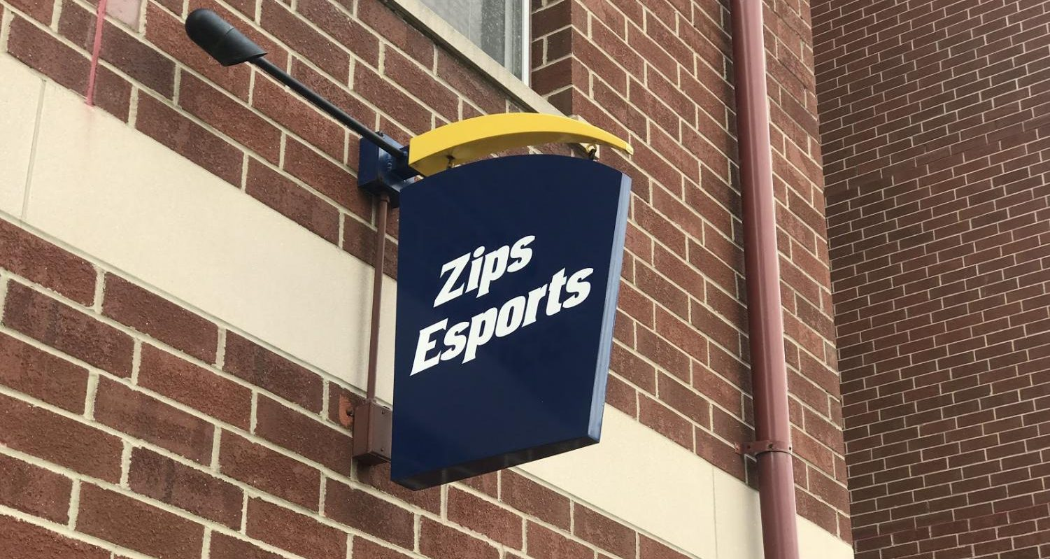 A sign marks the location of the Esports venue at Williams Honors College. This spot was originally a  Zip Card Office branch