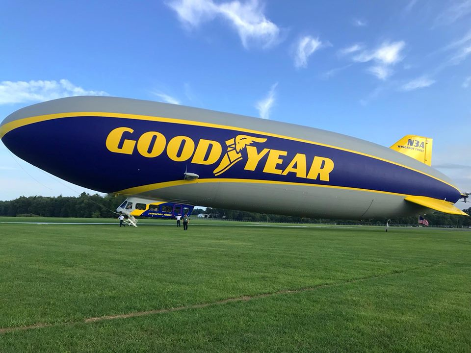 Goodyear's newest airship graces the airfield at Wingfoot Lake during a celebration-filled day at the historic hangar.