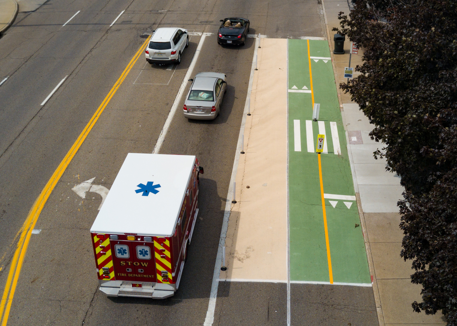 Overhead visual of the bike lane on East Exchange Street. (Photo courtesy of Street-Plans)