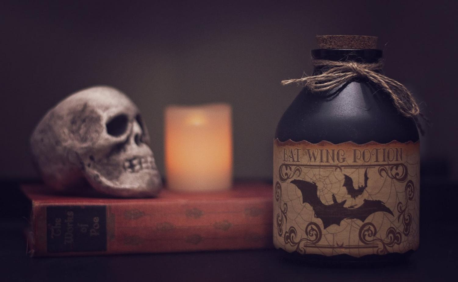 Common elements of horror films include skulls, potions or poisons, bats and night. (Photo courtesy of Pexels)
