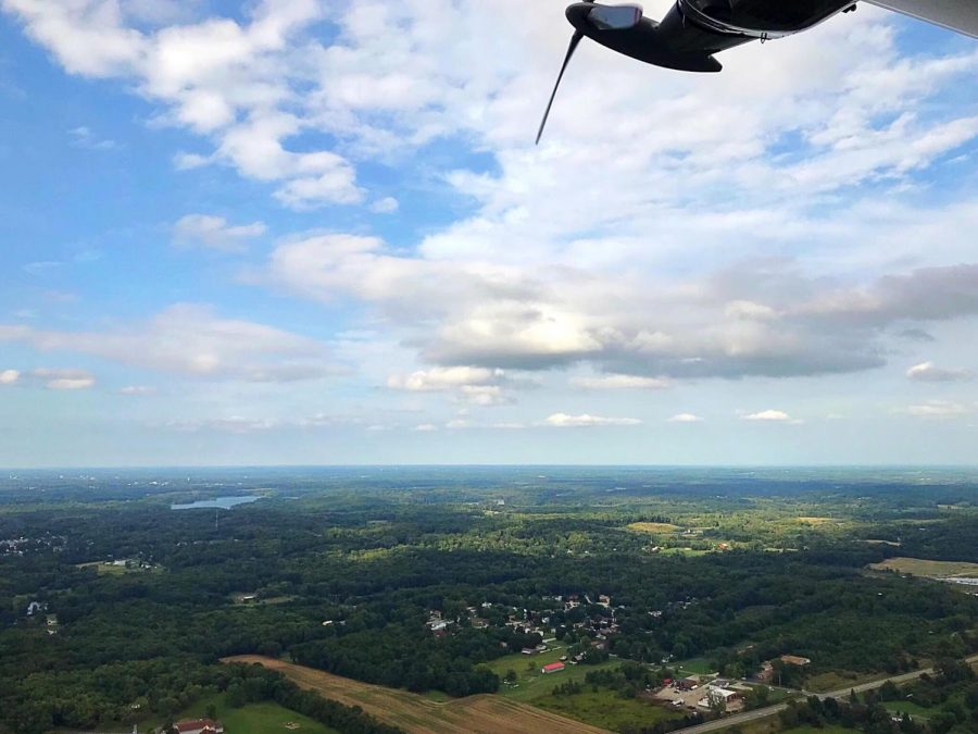 Wingfoot Three soars over the countryside east of Akron moments after taking off from Wingfoot Lake.