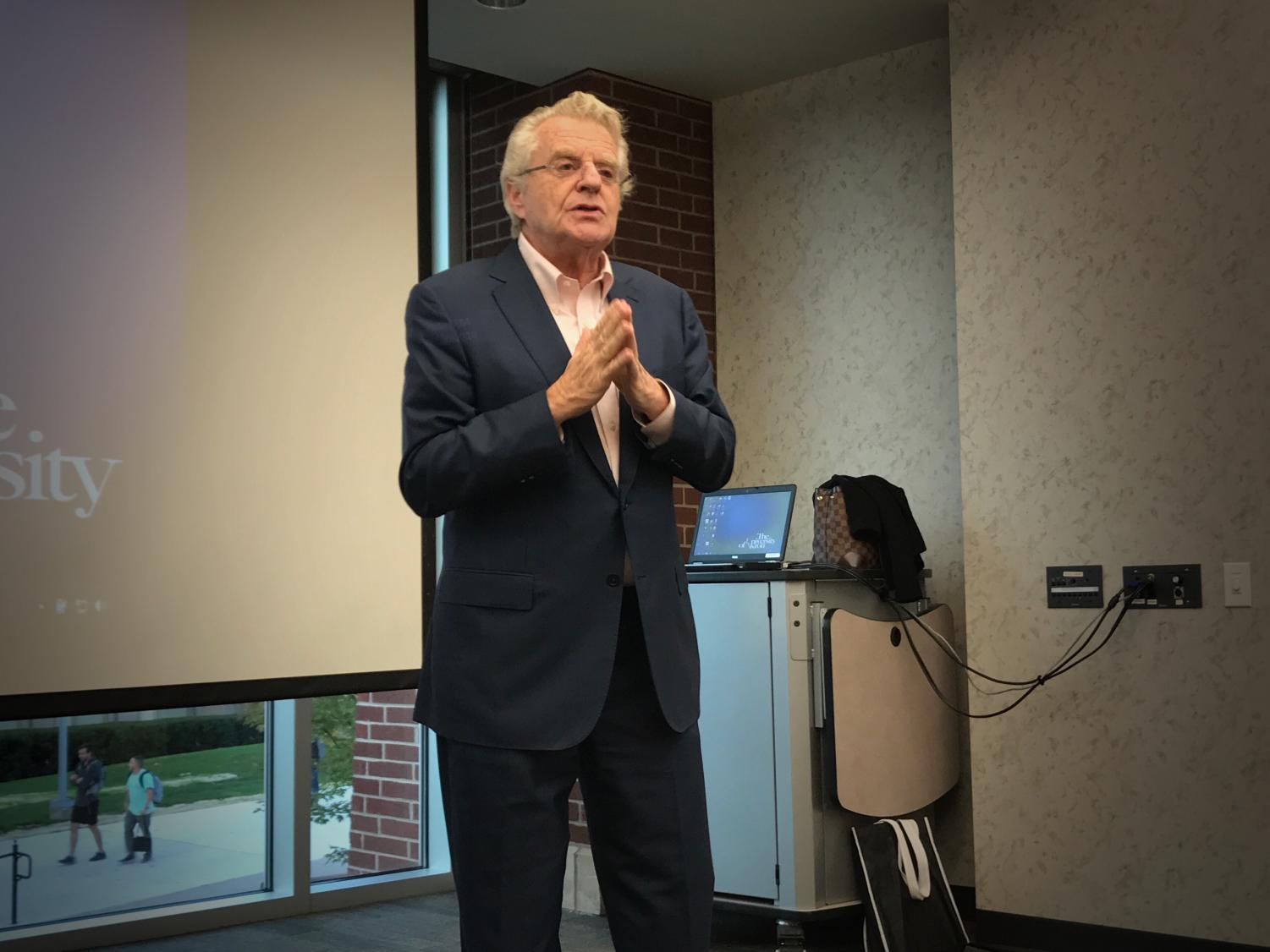 Jerry Springer speaks to University of Akron students, community members and fans at the Taber Student Union.