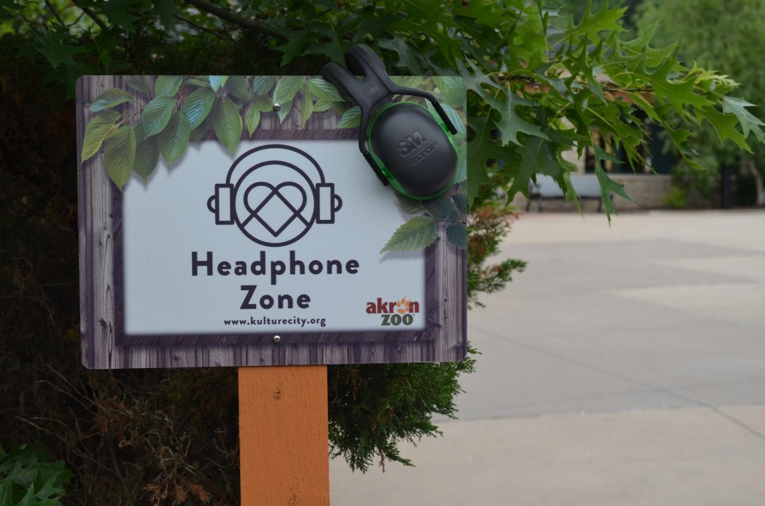 Headphone Zones are loud areas where people with sensory problems are encouraged to wear their noise-canceling headphones provided by the zoo. (Photo courtesy of Akron Zoo)