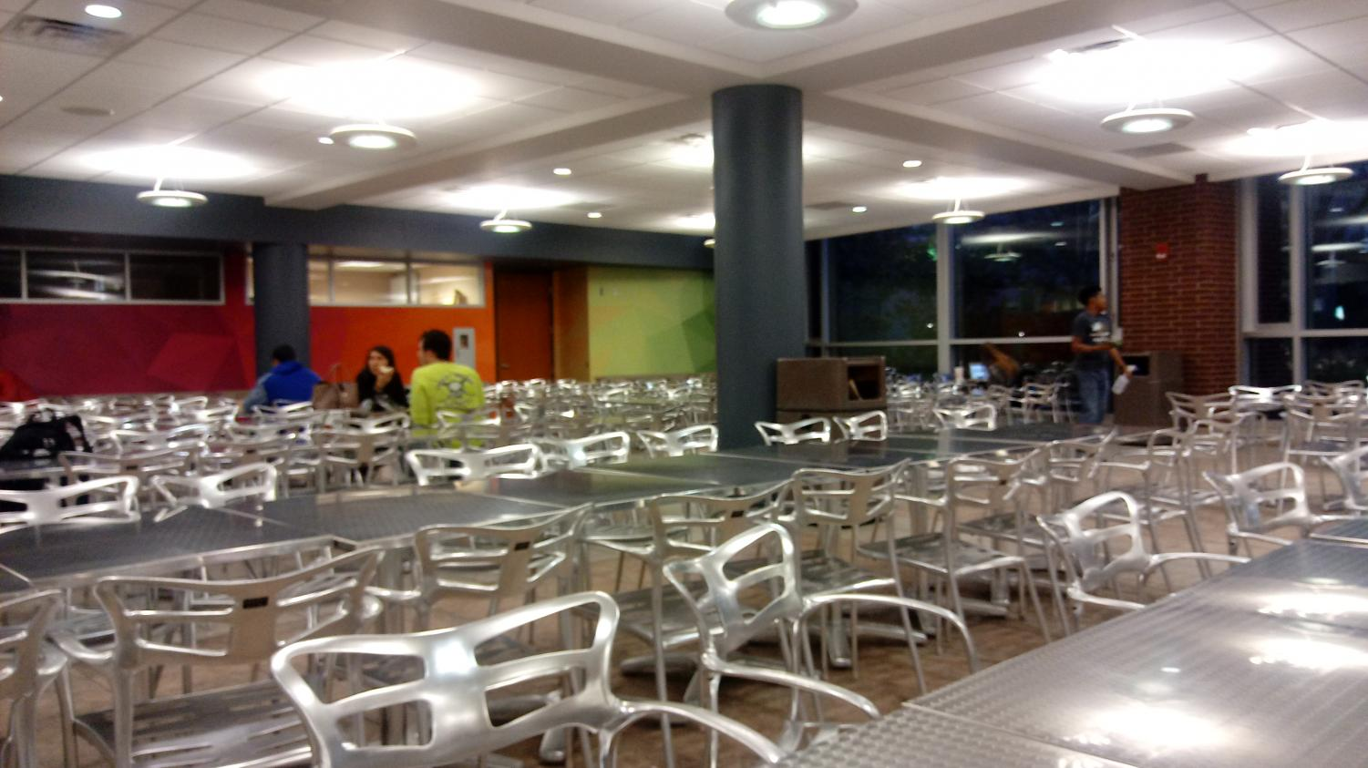 A few students spend time in the Taber Student Union.