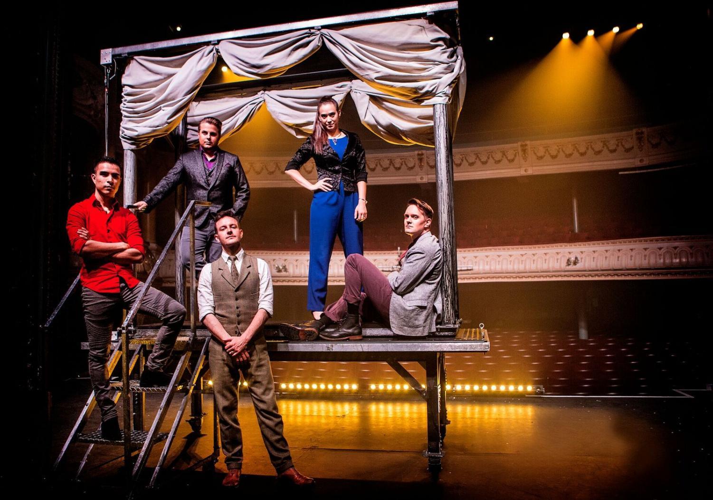 The illusionists include Fernando Velasco (left), Richard Young (left center), Alex McAleer (front center), Kayla Drescher (right center) and Sam Strange (right).