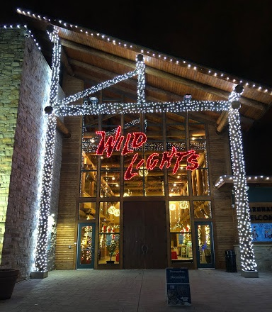 The Welcome Center decorated for Wild Lights at the Akron Zoo.