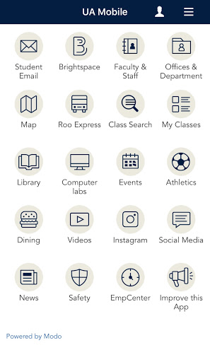 Screenshot of the UAkron App homepage.