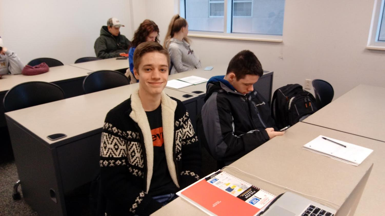 Josh Lloyd, an Akron Early College High School student sits in his 8:45 a.m. Humanities class.