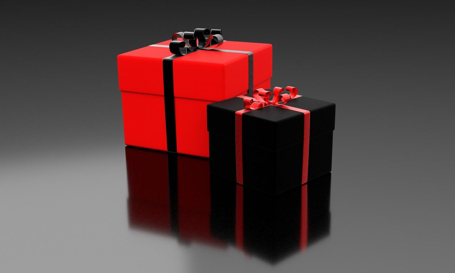Gifts on Valentine's Day come in a variety of shapes and sizes, but usually are wrapped in a red-themed color scheme.