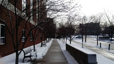 Snow still covered much of campus on Friday, Feb. 2.