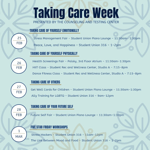 Counseling & Testing Center Announces 'Taking Care Week' Events