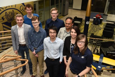 Members of the Virtual Environments for Space Travel team are, in the back row, from left, Thibaut Houette, Caleb Dyck and Dr. Shiva Sastry, and in the front row, from left, Joshua Foss, Erin Michaud, Bach Tran, Sarah Medved and Alycia Riese.