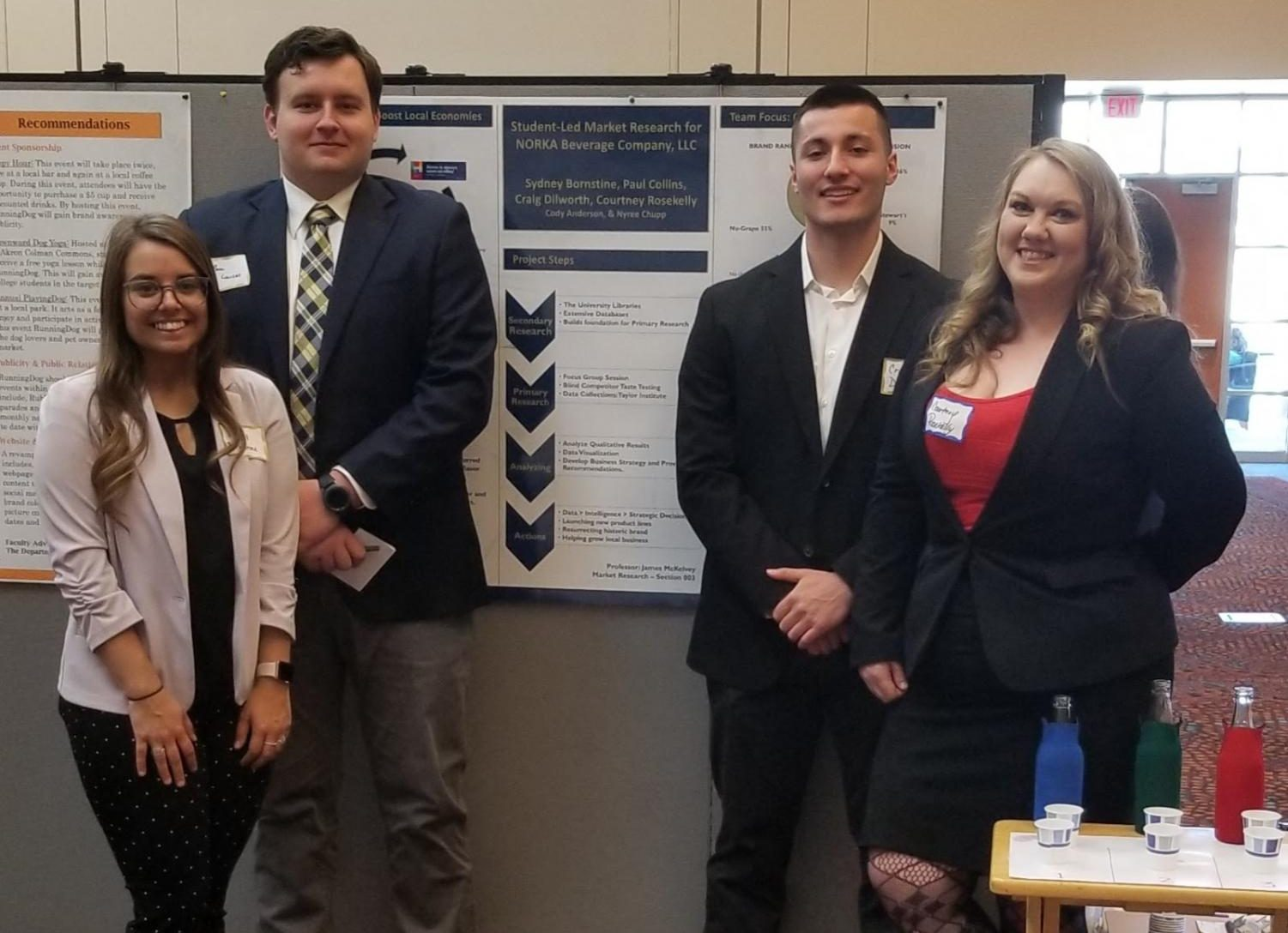 Cortney Rosekelly, Paul Collins, Craig Dilworth and Sydney Bornstine share the market research they conducted for NORKA Beverage Company, an Akron-based craft soda producer.