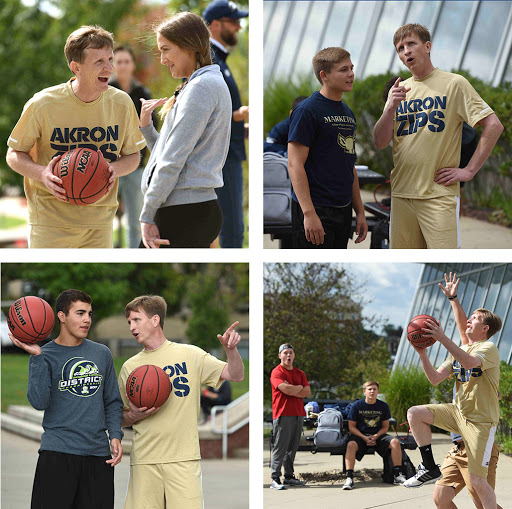 Students challenged Wilson to a shooting contest or a game of one-on-one, where winners earned a Starbucks gift card.
